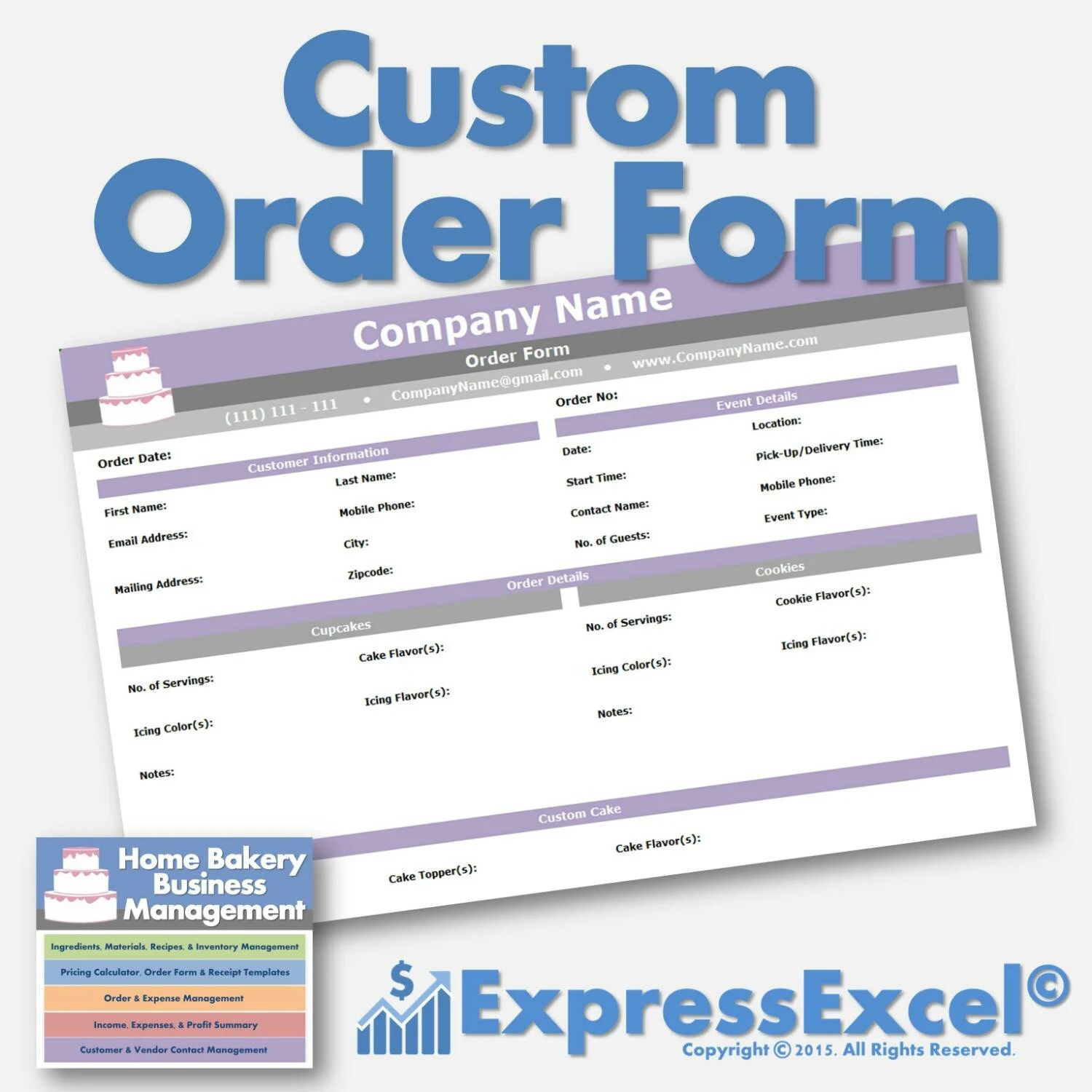 Cake, Cupcake, and Cookie Decorating Business Printable Order Form
