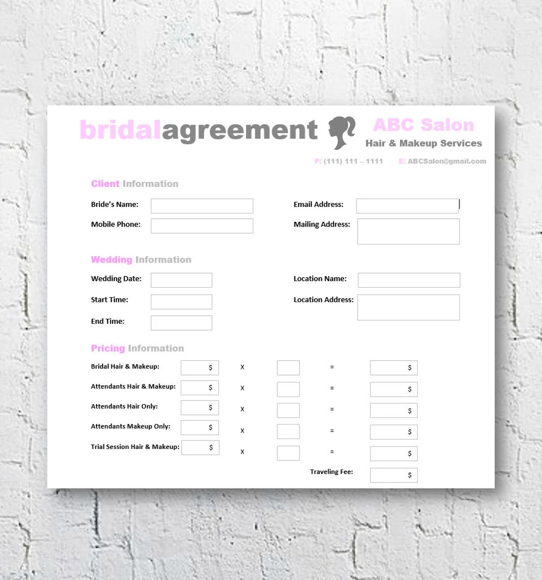 Hair Stylist  Makeup Artist Bridal Agreement Contract Etsy