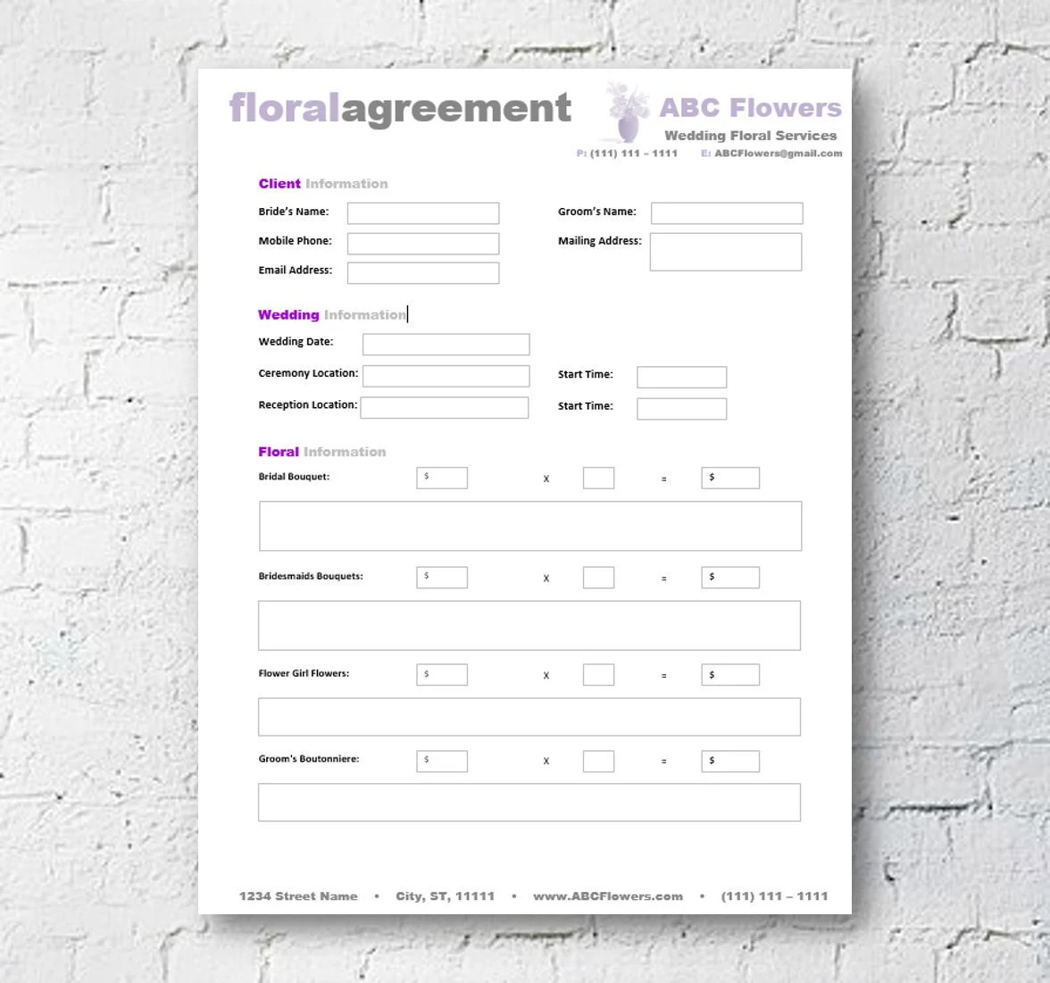 Floral Shop Bridal Agreement Contract Template Editable Etsy