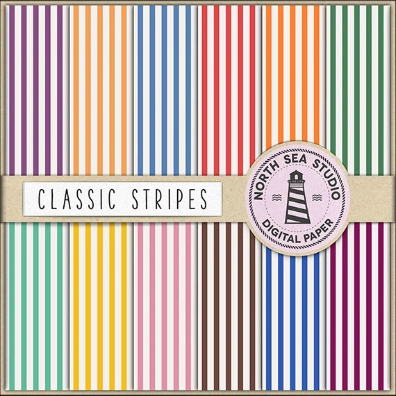 BUY 5 GET 3 FREE Stripe Digital Paper Pack Scrapbook Paper Etsy
