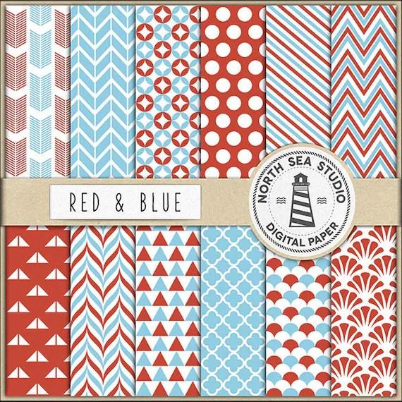 Red And Blue Digital Paper Pack Scrapbook Paper Printable