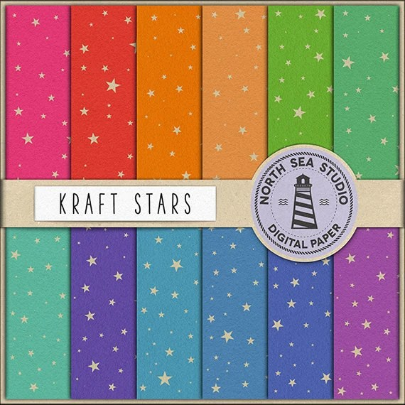 BUY 5 GET 3 FREE Kraft Stars Digital Paper Pack Scrapbook Paper