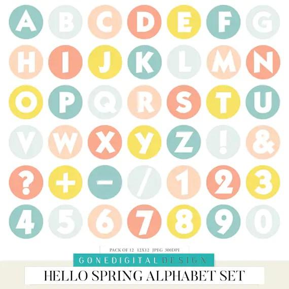 Spring Digital Alphabet Spring Printable Letter Spring Clipart