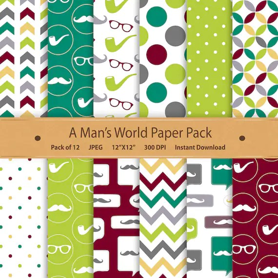 Fathers Day Digital Father Paper Pack Fathers Day Tags Moustache
