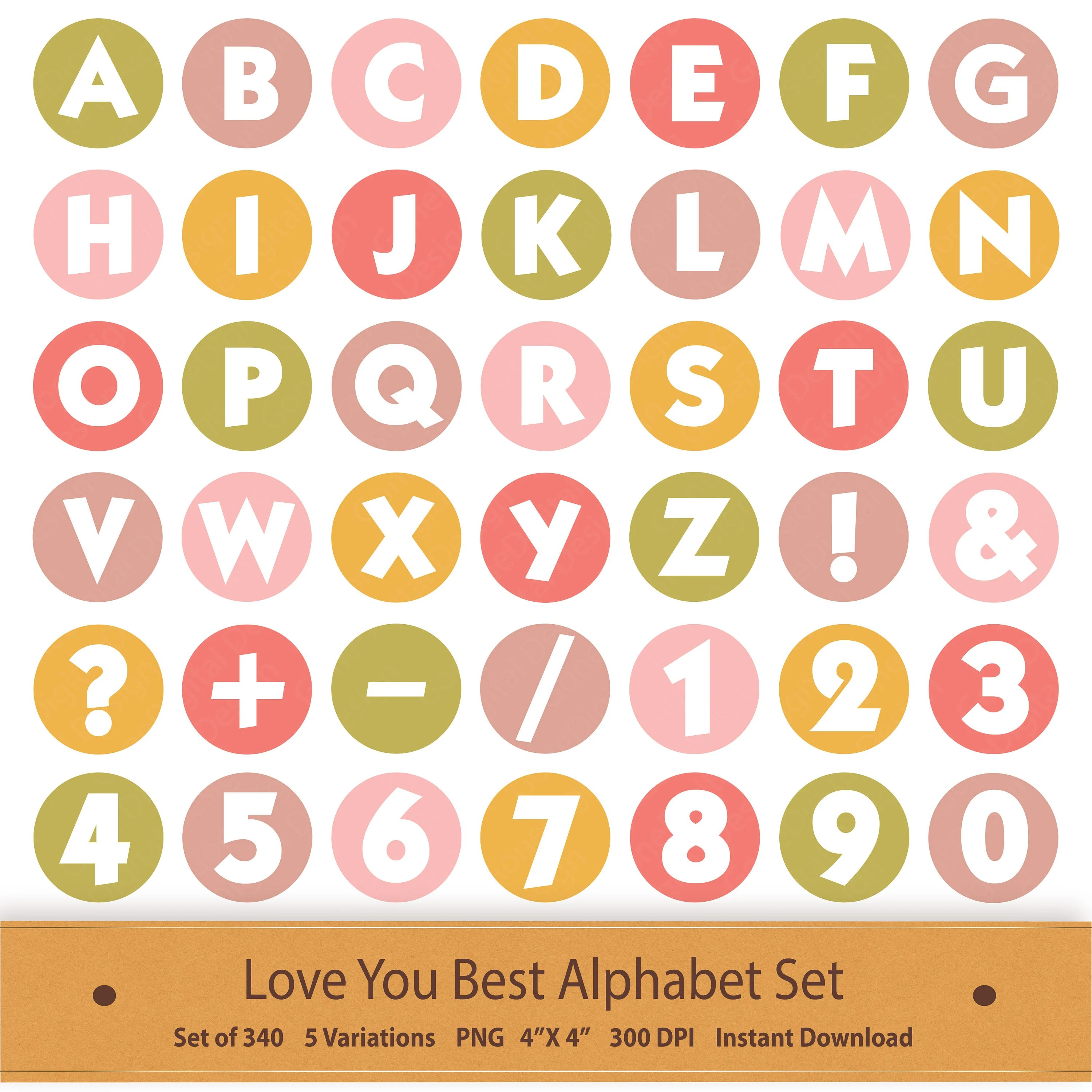 Love Digital Alphabet Letters Printable Valentines Clipart Printable