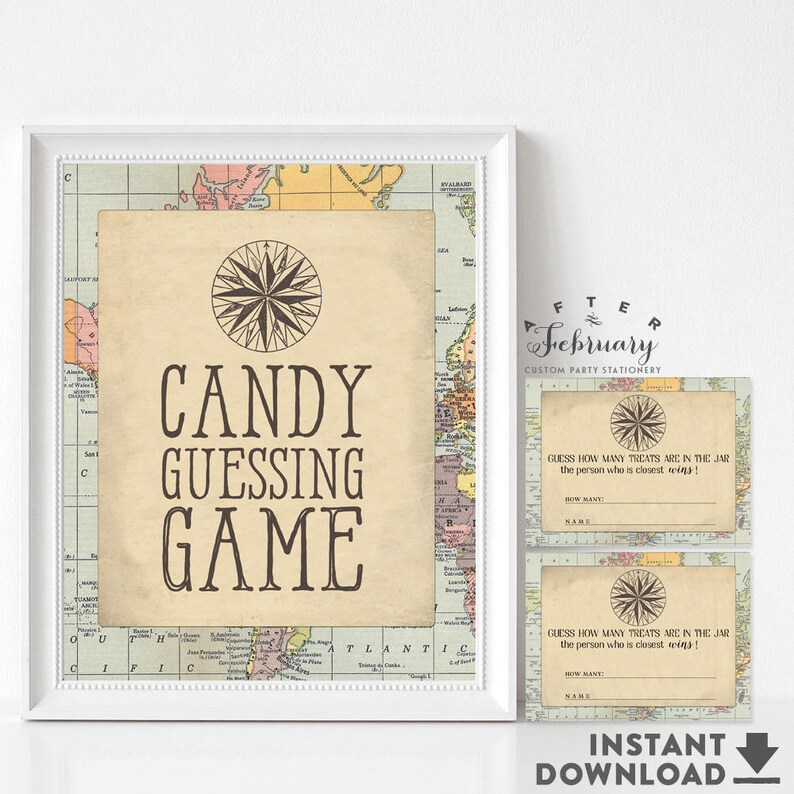 Guess How Many Candy Guessing Game Printable Travel Compass Etsy