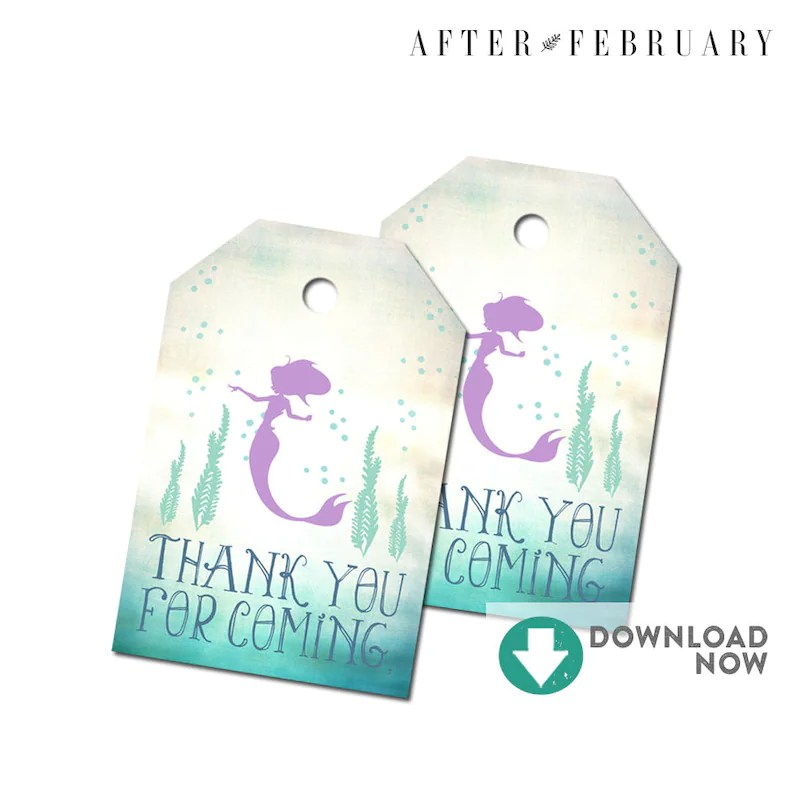 Mermaid Baby Shower Favors Tag Thank You Gift Tag Printable Etsy