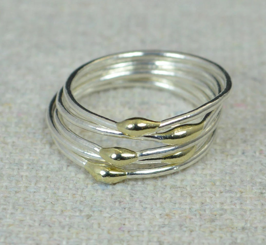 Gold S Unique Silver And Solid 14k Gold Stacking Ring S Silver Rings