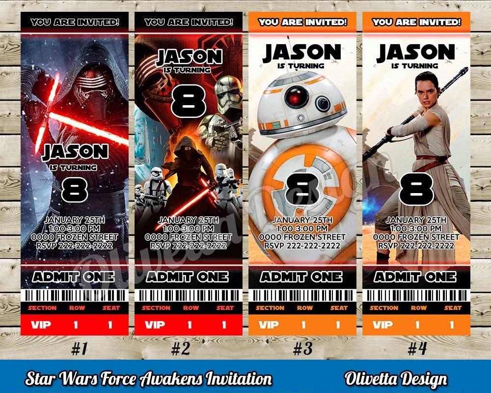 Star Wars The Last Jedi Invitation For Birthday Party