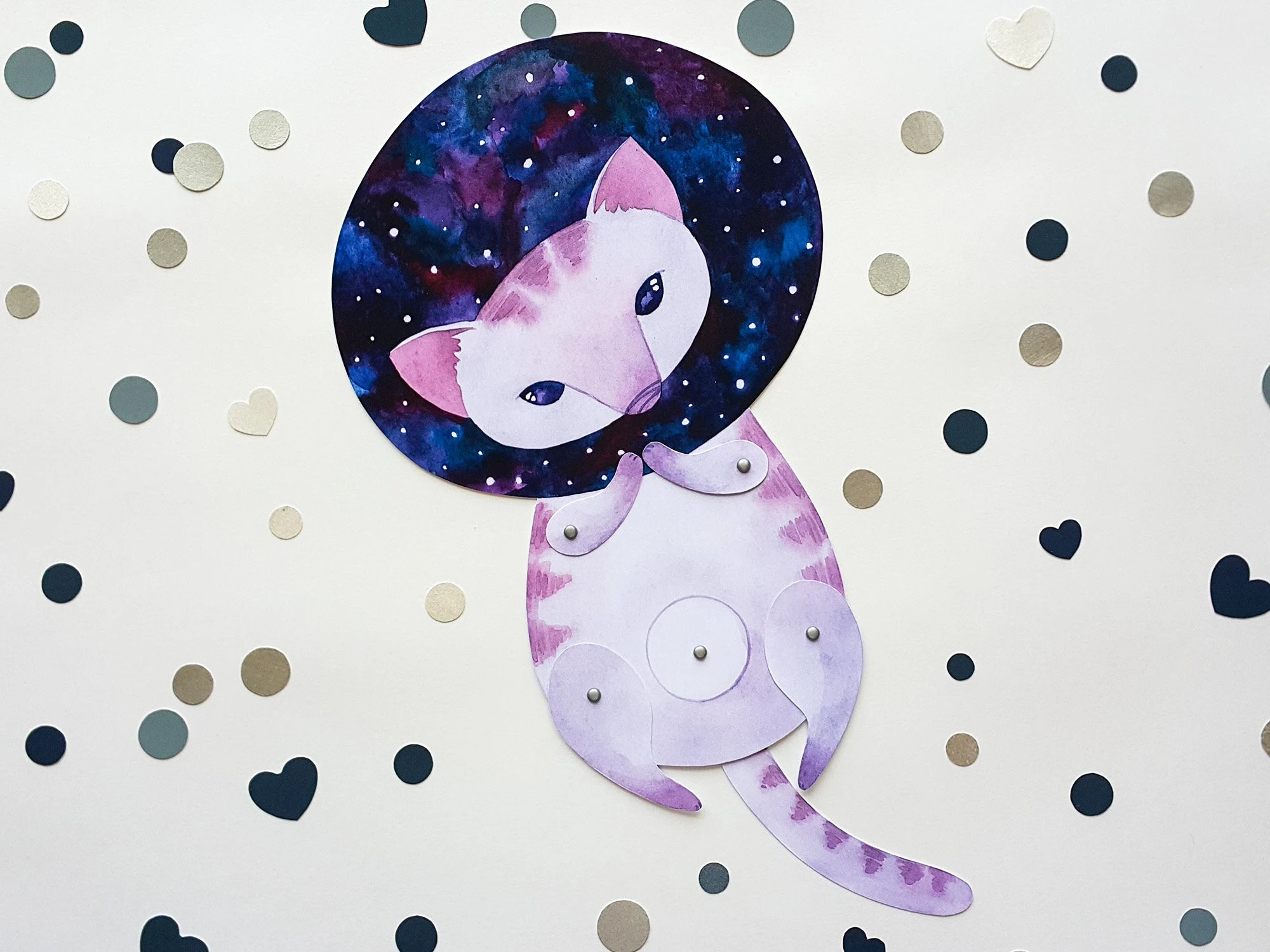 Articulated Paper Doll Space Cat Printable Paper Doll Etsy