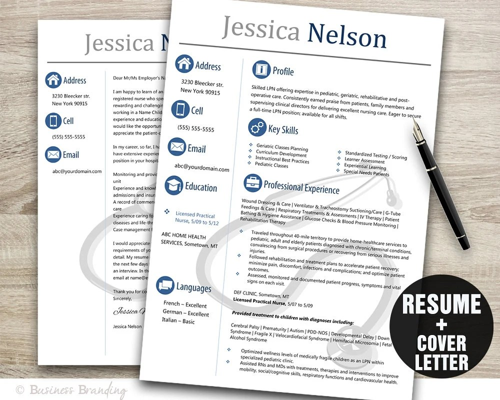 Medical Resume Template,Instant Download Medical Resume,Resume Cover Letter  Template, Nurse Resume Template Word, CV Template Stethoscope