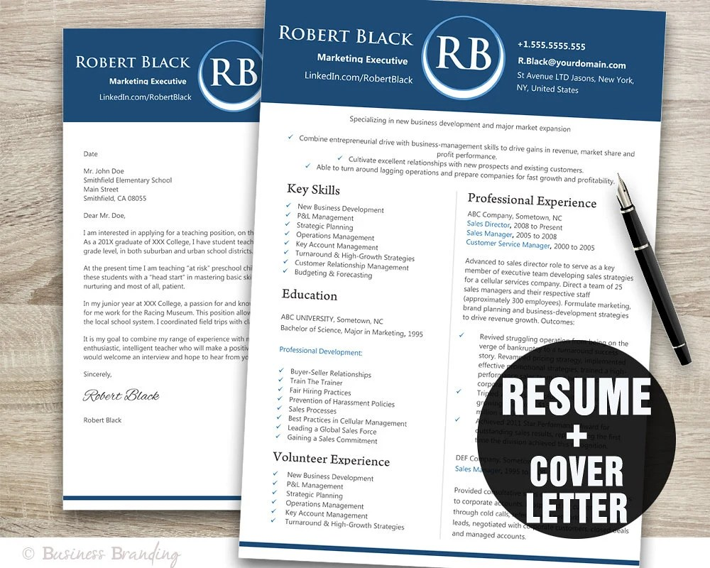 Classic Blue Resume Template Word / Cover Letter Template / Etsy