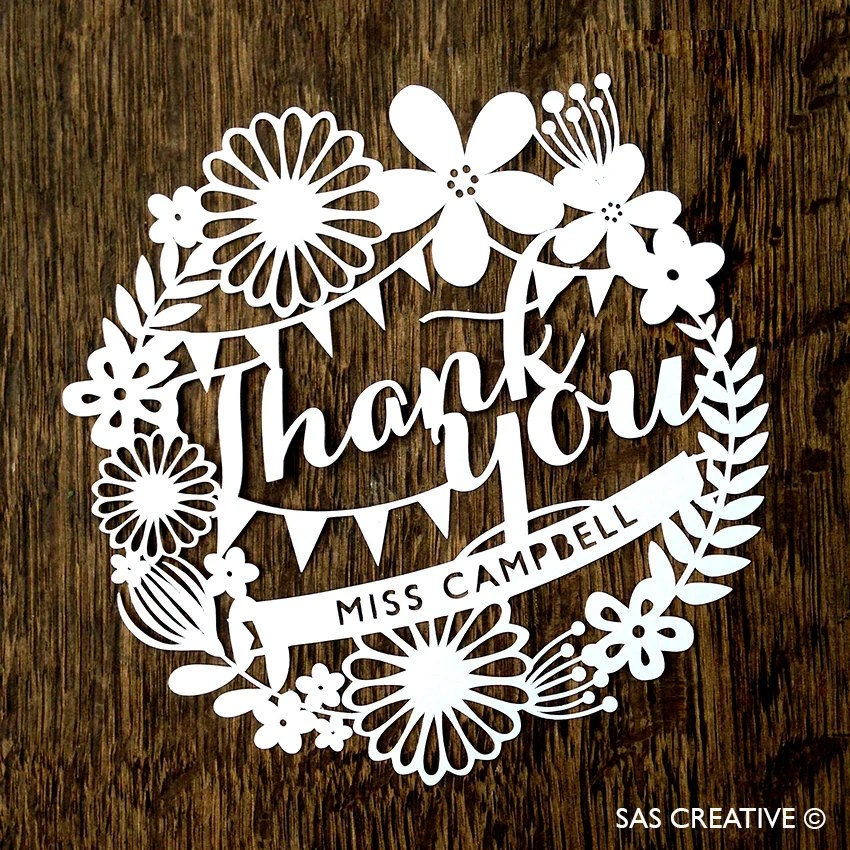 Papercut Template Thank You Card PDF Jpeg SVG Make Your Own DIY