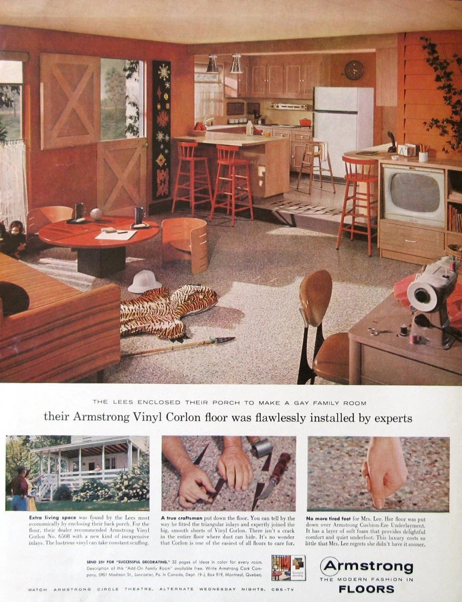 1950s Kitchen Design 1959 Armstrong Vinyl Floor Ad 1950s Country Kitchen Design Family Room Decor Dutch Door
