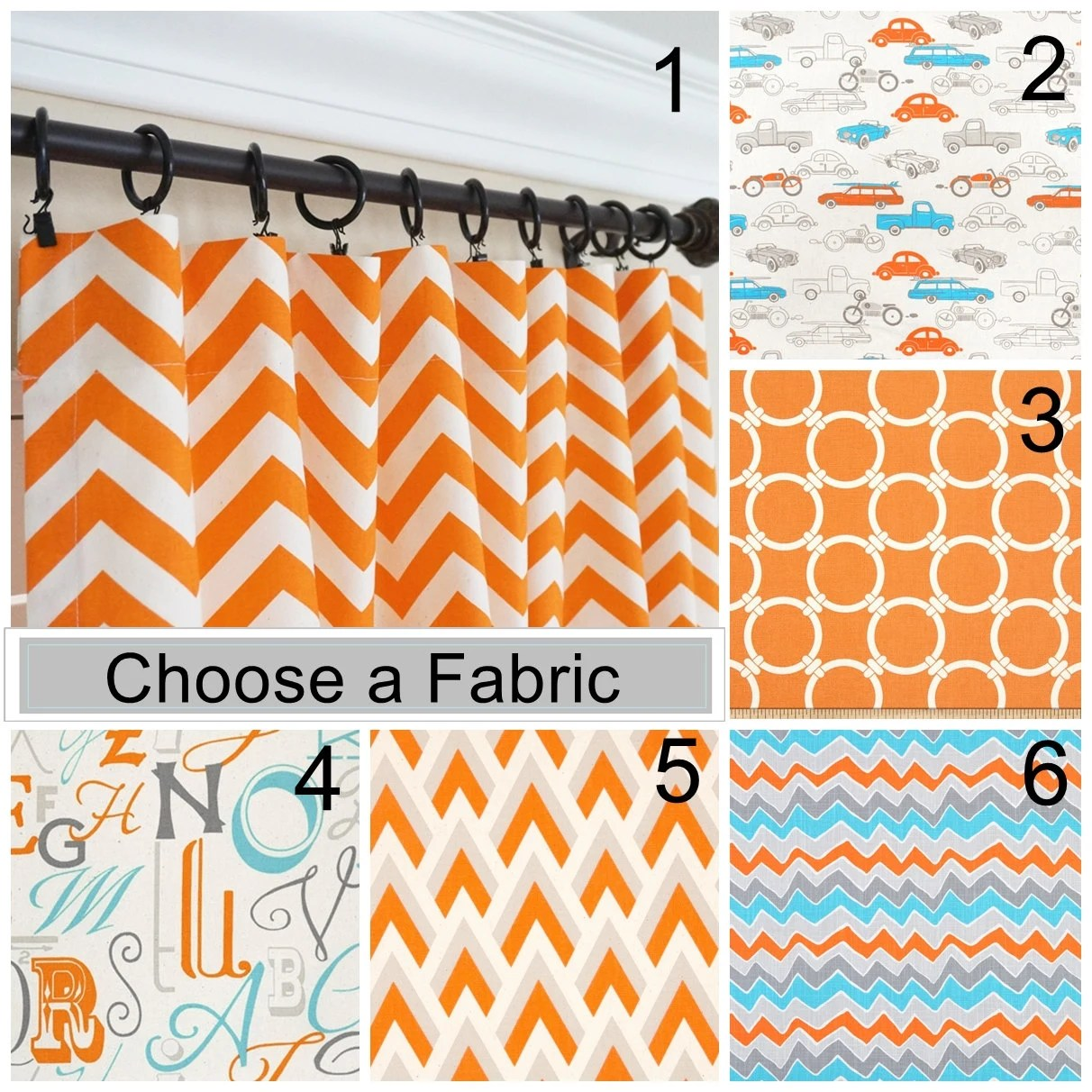 Orange Curtain Panels Orange Curtain Panels Orange Aqua Blue Curtains Nursery Curtains Kids Transportation Curtains Chevron Curtains 63