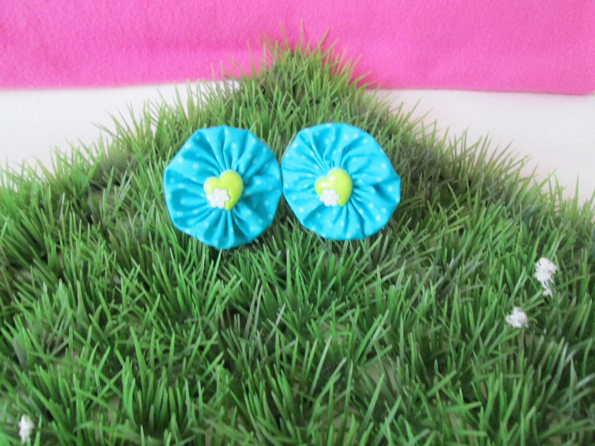 Fabric Flower Hair Ties Turquoise Blue Polka Dots Etsy