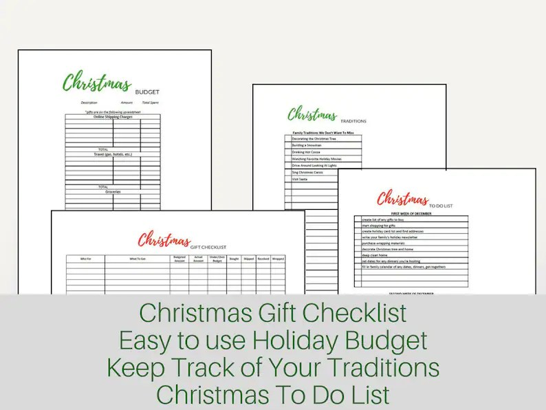 Holiday Budget Planner Christmas Budget Thanksgiving Budget Etsy