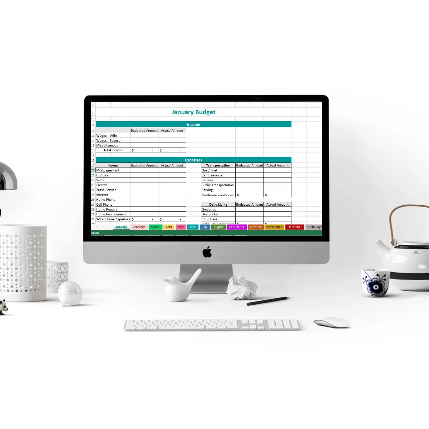 Excel Budget Spreadsheet Expense Tracker Family Budget Etsy