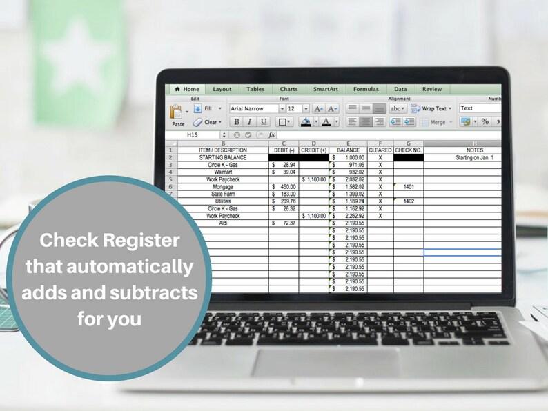 Check Register Checkbook Register Excel Money Tracker Expense Etsy