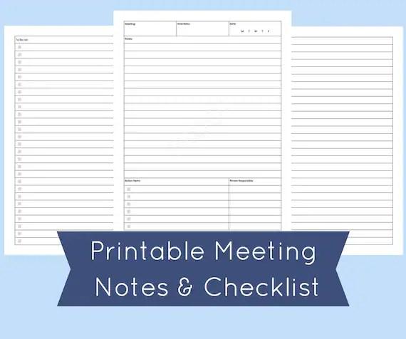 Meeting Agenda Template Printable Meeting Notes Meeting Etsy