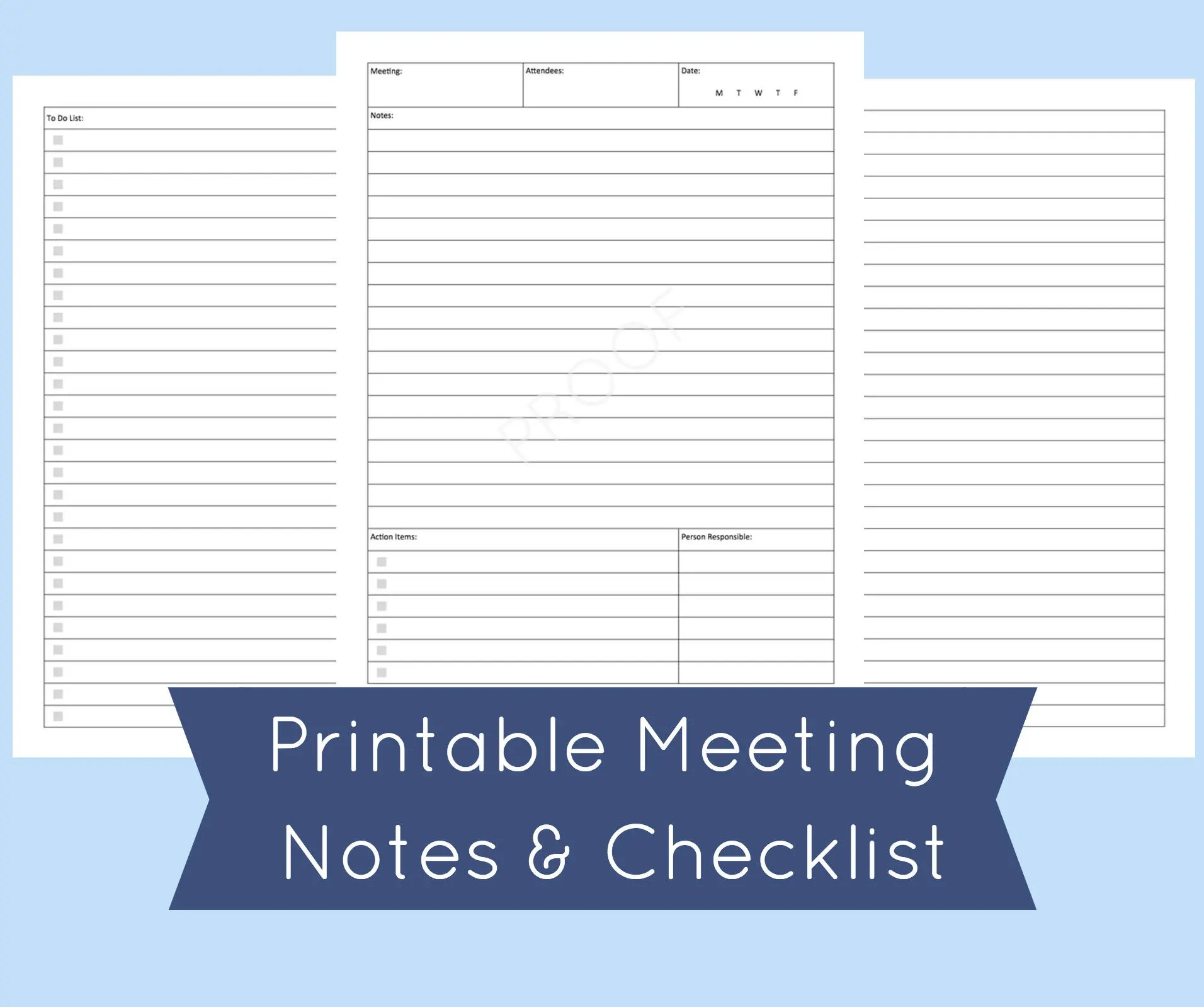 Meeting Agenda Template Printable Meeting Notes Meeting Etsy