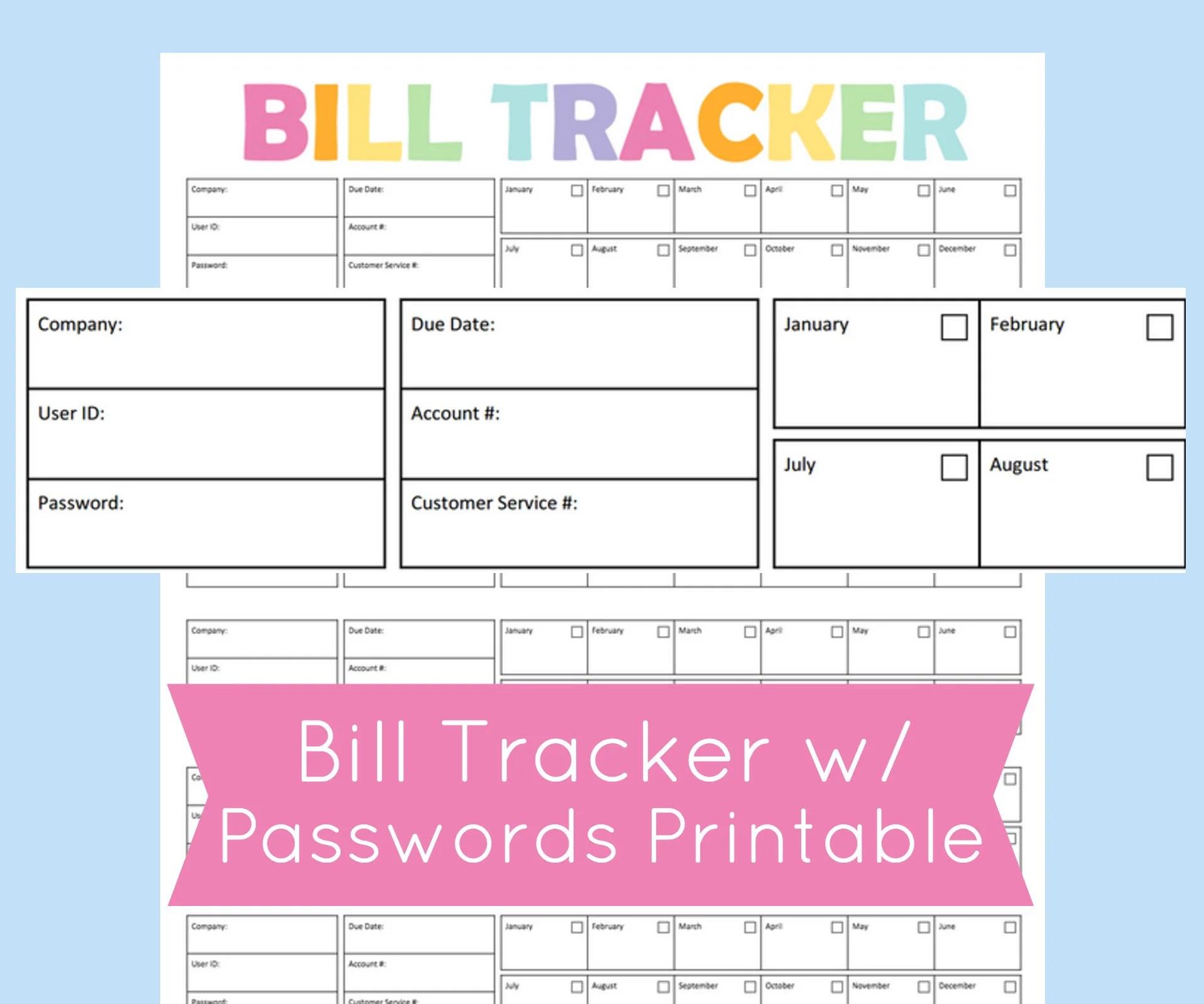 Bill Tracker Printable Bill Due Planner Bill Organizer Etsy