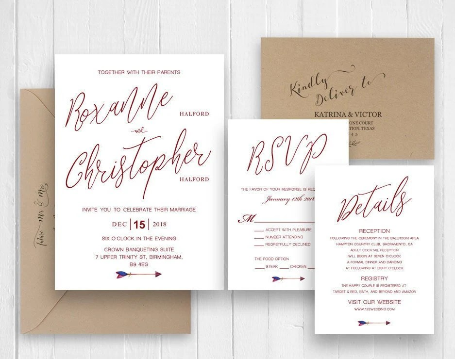 Burgundy Calligraphy Wedding Invitations Printed Invite Etsy