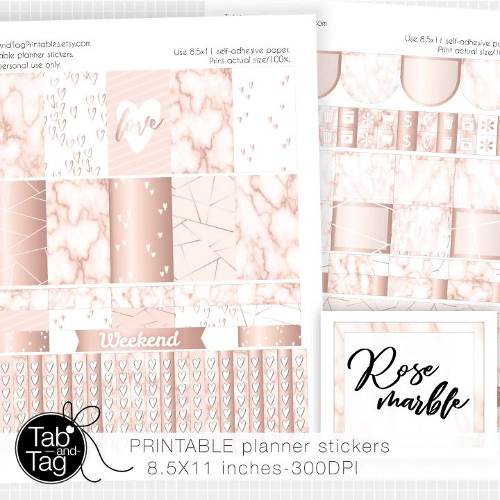 Rose MARBLE planner stickers weekly kit / PRINTABLE pink rose Etsy