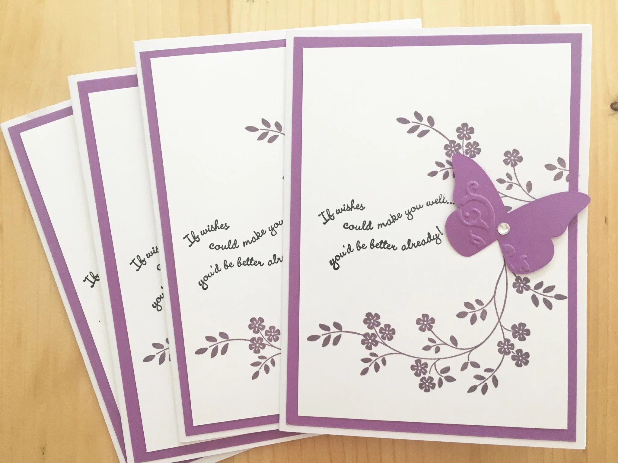 4 Butterfly Get Well Cards Purple Butterfly Greeting Card Etsy