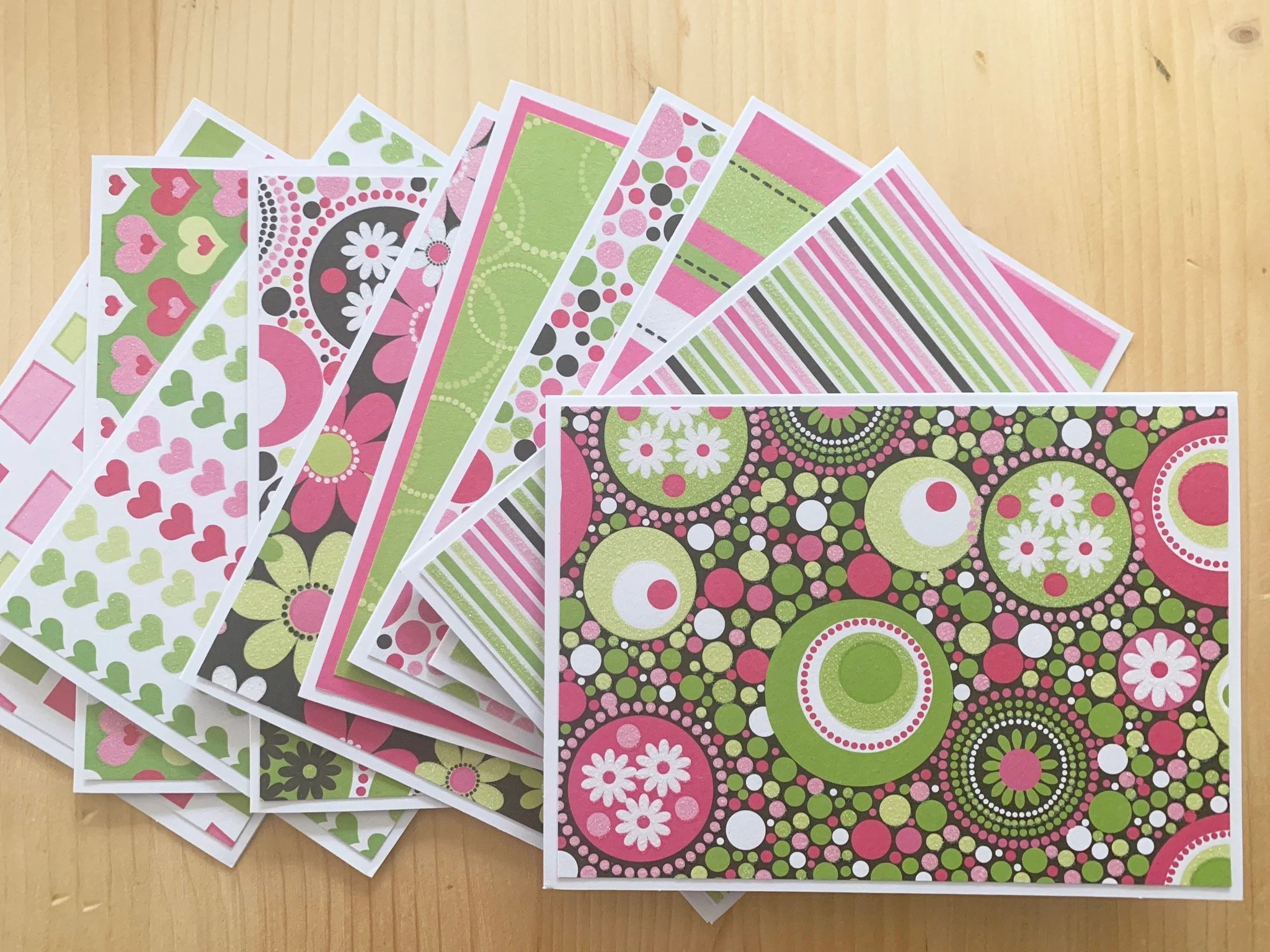 10 Pink Note Cards Blank Note Card Assortment Set featuring Etsy