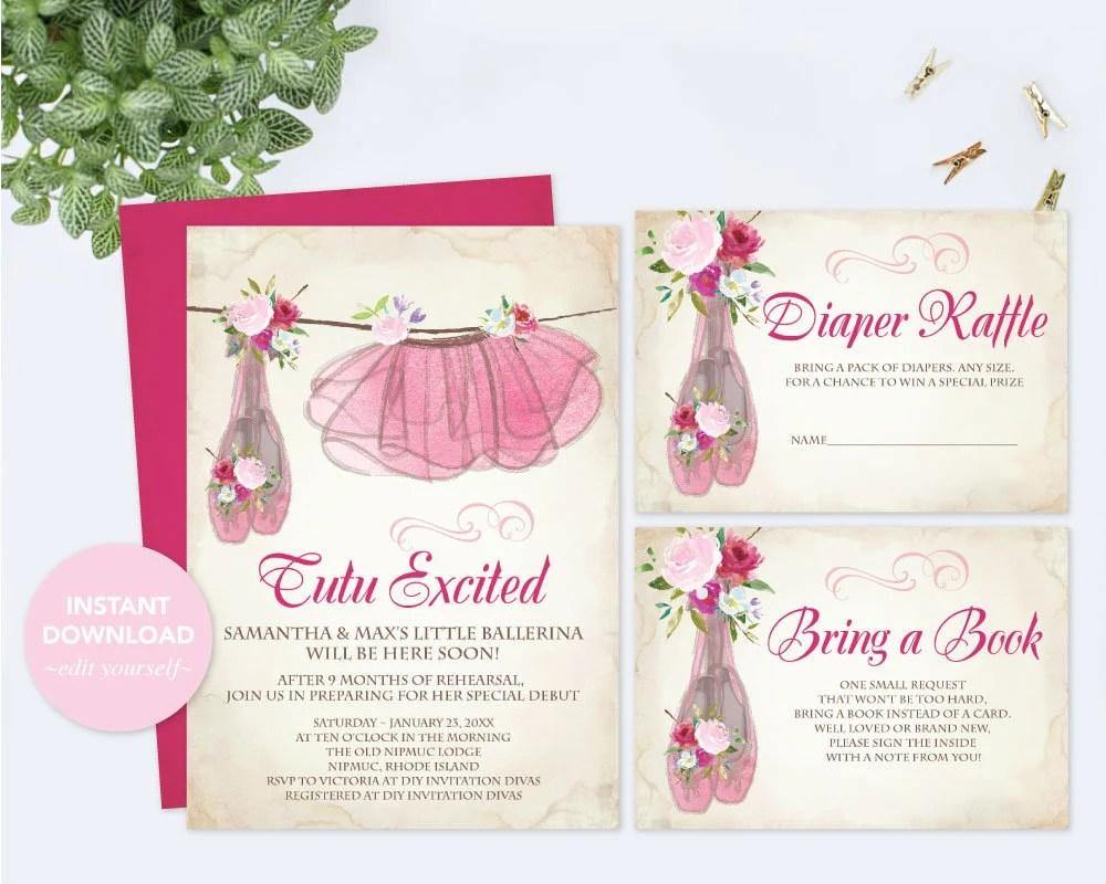 BABY SHOWER INVITATION Girl, Invitation Template Set, Diaper Raffle
