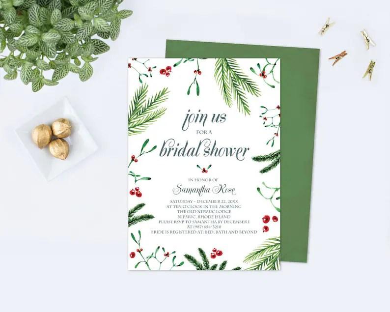 Christmas BRIDAL SHOWER Invitation Template PDF Christmas Etsy