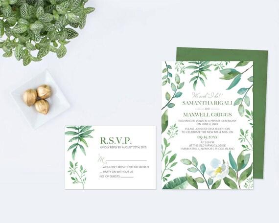 Greenery WATERCOLOR WEDDING INVITATION, Wedding Invitation Printable