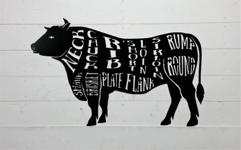 Cow Butcher Shop Sign Beef Meat Chart Butcher Diagram Meat Etsy