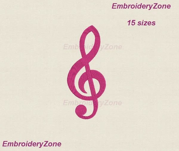 Treble clef machine embroidery design large and mini Etsy