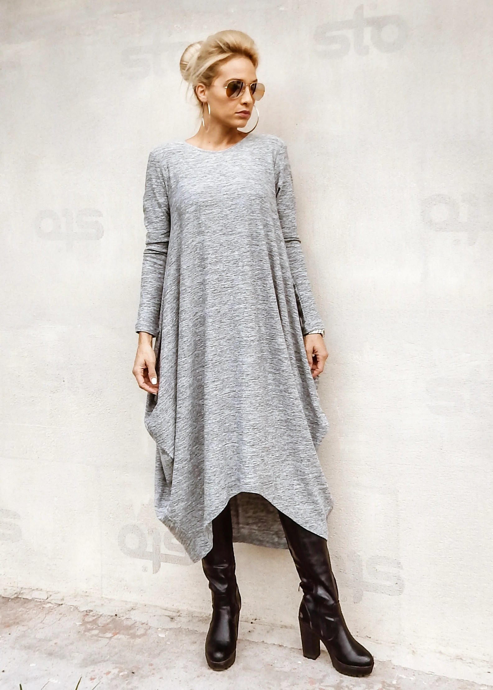 Robe Pull Femme Nouvelle Robe Pull Femme Hiver Robe Robe En Tricot Plus Size Robe Asymétrique Robe Robe Grande Taille Maxi Gris Robe 35286