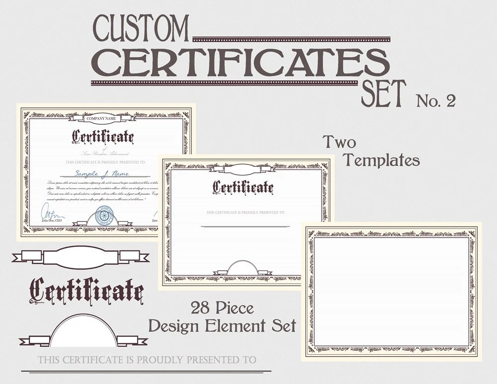 Certificate Template Set DIY Award Certification Diploma Etsy
