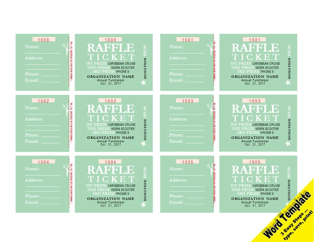 RAFFLE Tickets Editable WORD Template Printable Instant Etsy - boletos de rifas para imprimir gratis
