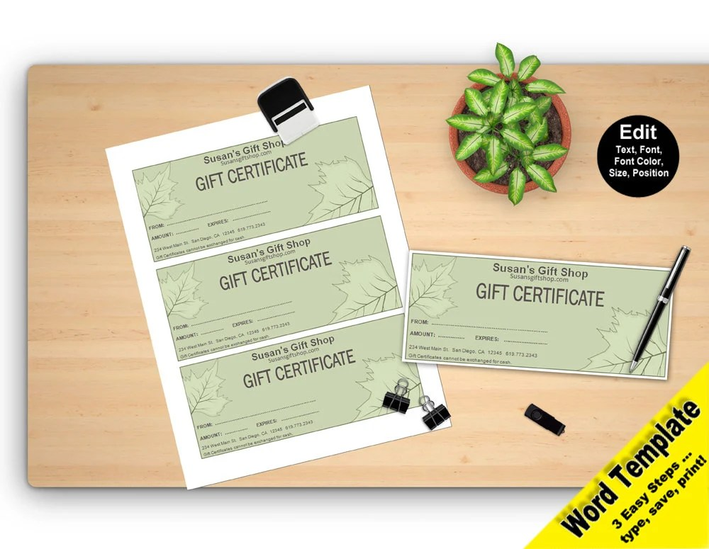 GIFT Certificate Editable WORD Template Printable Instant Etsy