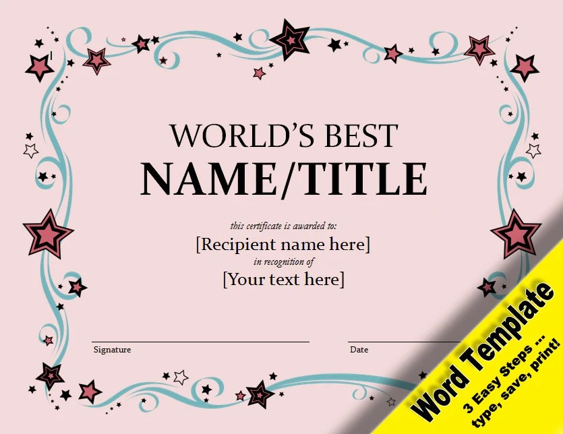 World\u0027s Best Award Editable Word Template Printable Etsy
