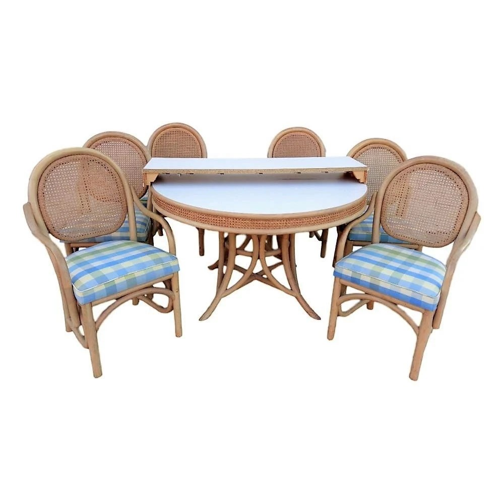 Esszimmermöbel Rattan Vvh Vintage Brown Jordan 8 Piece Rattan Dining Set With Six Cane Back Dining Chairs And Round Table With Leaf Coastal Mid Century Palm Beach