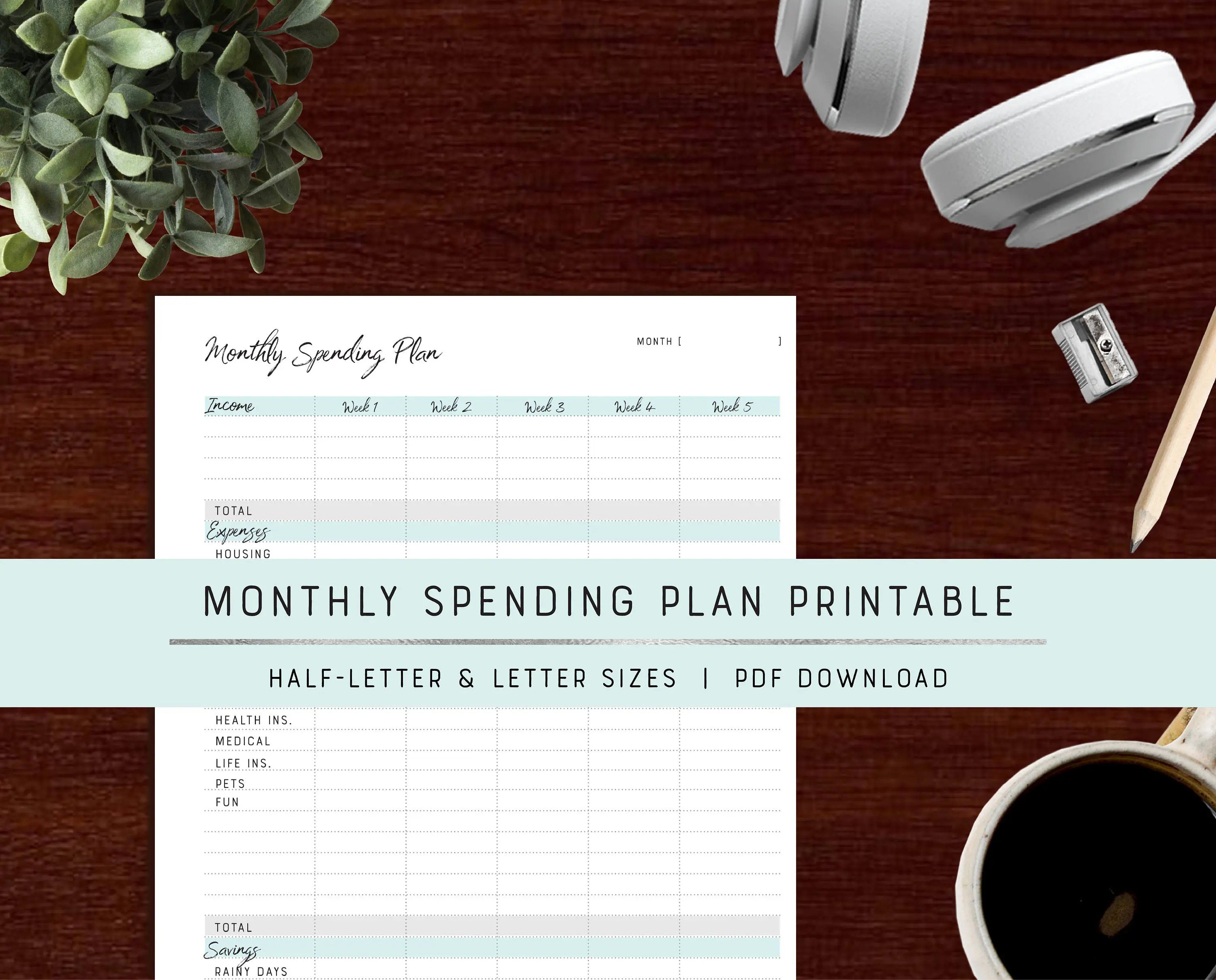 Monthly Budget Printable Personal Budget Planner Etsy