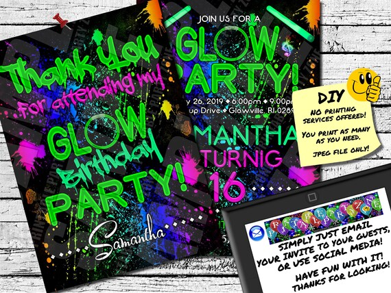 BIRTHDAY GLOW PARTY Invitation Printable Invite Emailable Etsy