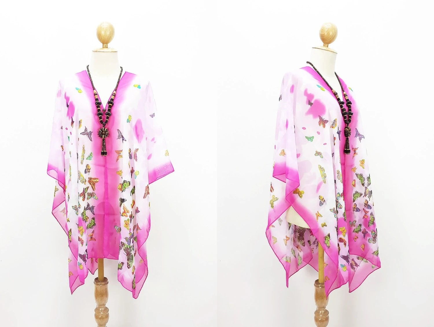 Kaftan Beach Cover Up Bikini Pink Blouse Scarf Shawl