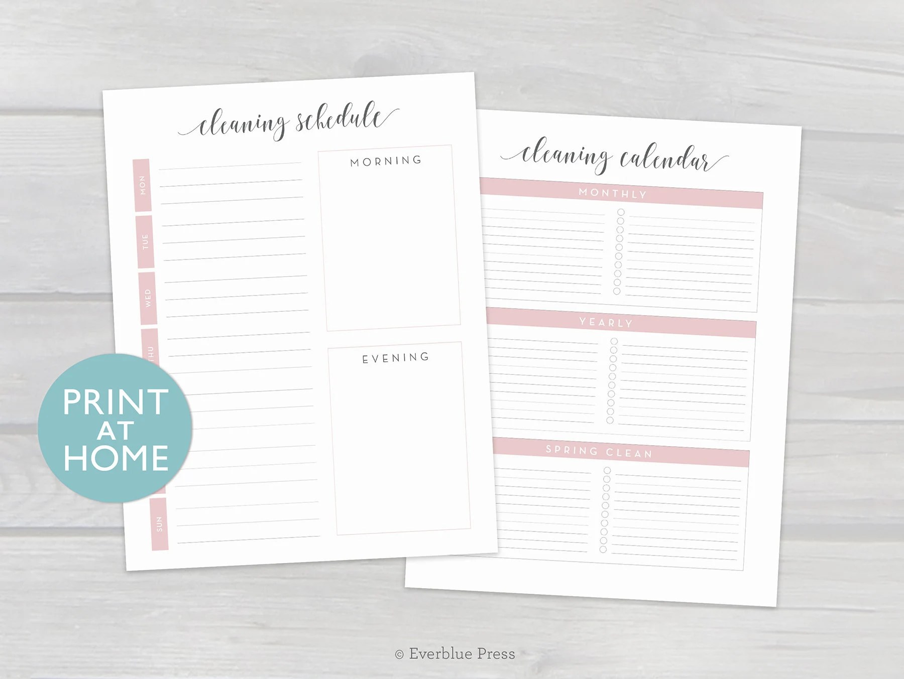Cleaning Schedule Printable Cleaning Checklists Etsy