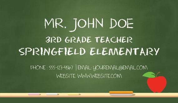 Teacher business cards substitute teacher business cards Etsy