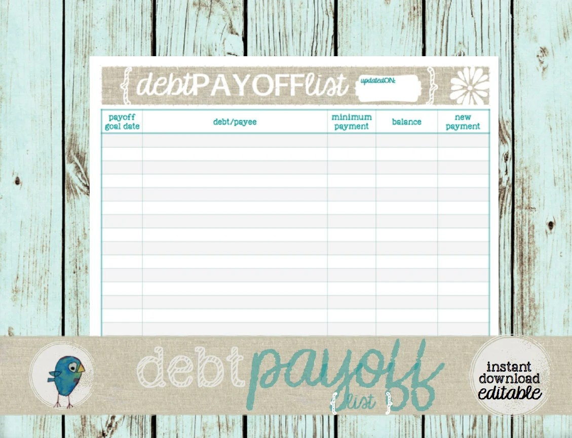 Debt Payoff List Printable Budgeting Form for your Budget Etsy - form for budgeting