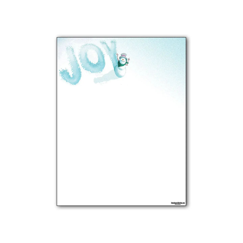 Holiday Stationery Snowman Joy Holiday Letterhead 85 x 11 Etsy