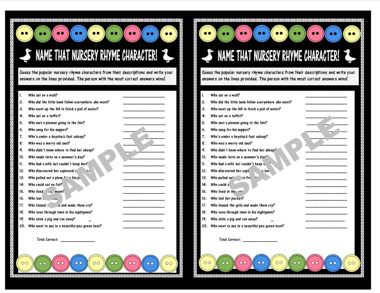 Name That Nursery Rhyme Character Baby Shower Printable Game Etsy