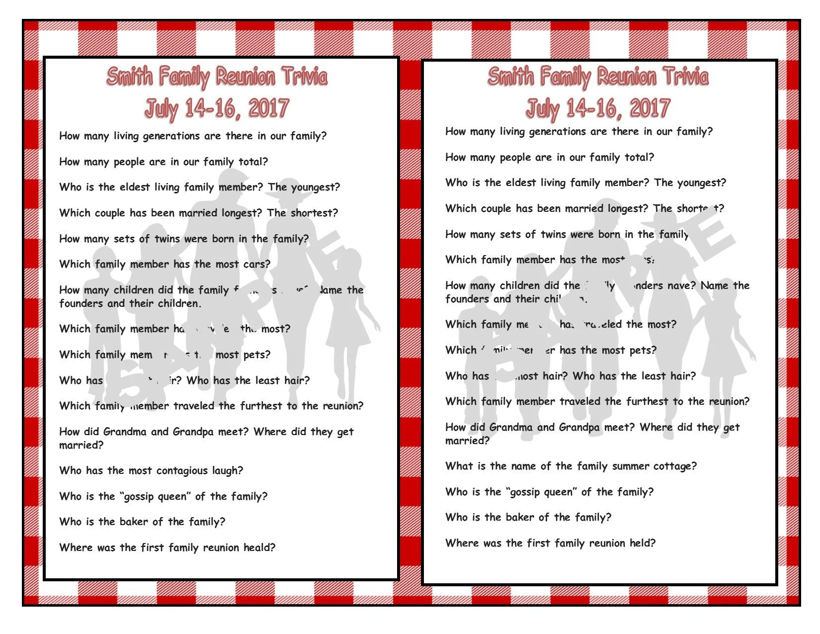 Family Reunion Printable Trivia Cards Family Reunion Etsy